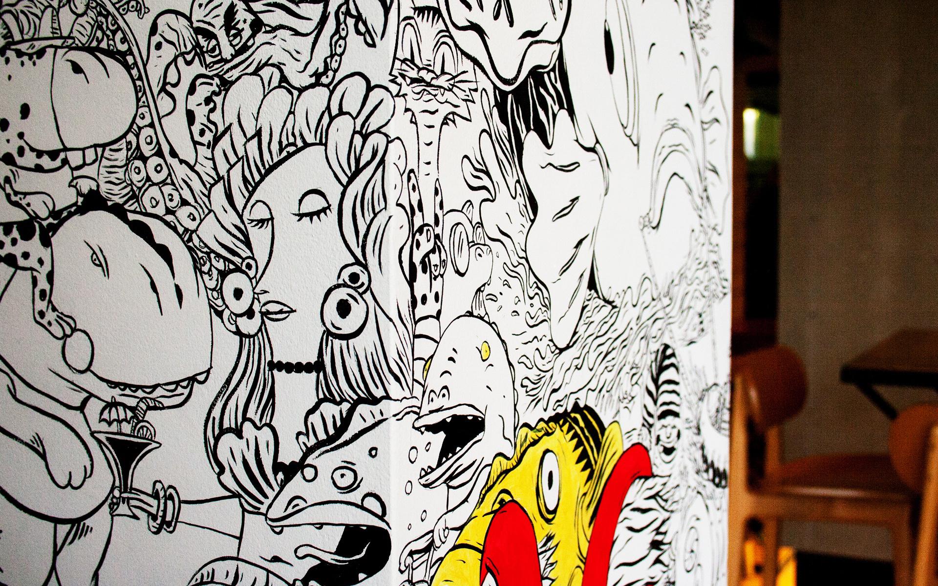 Color in Mural at Pelican Restaurant